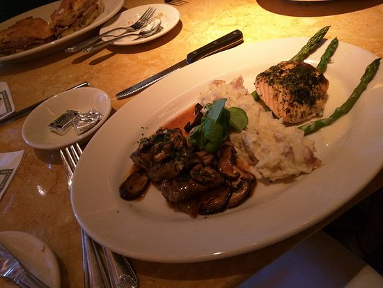Bethesda, MD: Steak Diane combo with herb crusted salmon