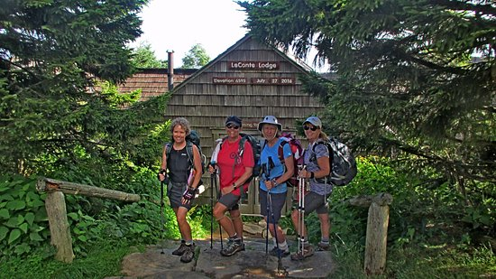 LeConte Lodge: Down the steps to the dining hall.