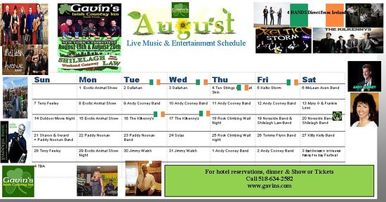 Gavin's Irish Country Inn: August Music and Entertainment Schedule