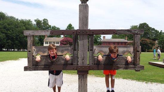 Colonial Williamsburg: Our 2 grandsons, Nolan and Jack finally still for a few minutes!