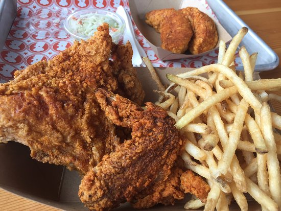 2 pieces white meat with side tenders - picture of blue ribbon