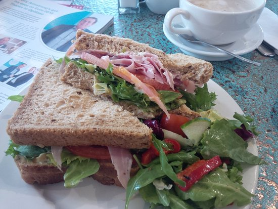 Killyleagh, UK: HLT- ham, lettuce, tomato with mayo and mustard. Served with a side salad of arugula.