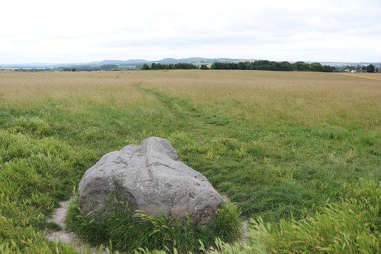 Durrington, UK : Piedra del cuco con Woodhenge al fondo a la izquierda