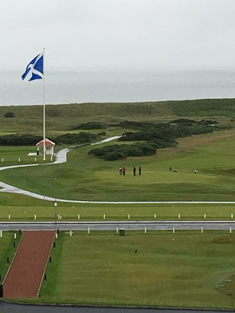 Turnberry, UK: View of the golf course and sea from the dining room