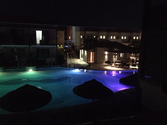 Holiday Village Rhodes: evening pool view from 3412