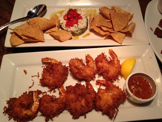 Bedford, NH: Crab and avocado stack, coconut shrimp