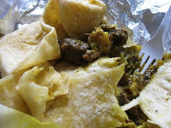 Ocoee, FL: A Goat curry wrapped in a dhal puri - Delicious