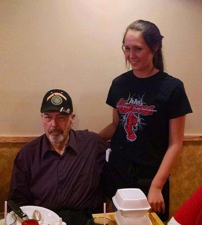 Houston, MO: Celebrating Lewis's birthday; our waitress was also having a birthday :)