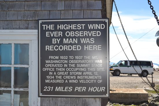 Gorham, New Hampshire: highest wind ever observed - building chained down