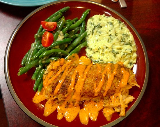 Backstreet Cafe: Mahi Mahi Grilled and Baked in Potato Crust, Green Bean Salad and Spinach Orzo