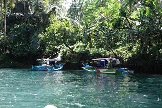 West Java, Indonesia: De green canyon en de bootjes waarmee naar de canyon wordt gevaren