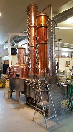 Stein Distillery: Main kettle is hand hammered, made in Germany. Beautiful equipment behind glass, and tasty produ