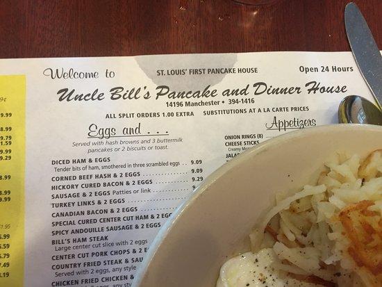 Ballwin, MO: Placemat menu with hash browns