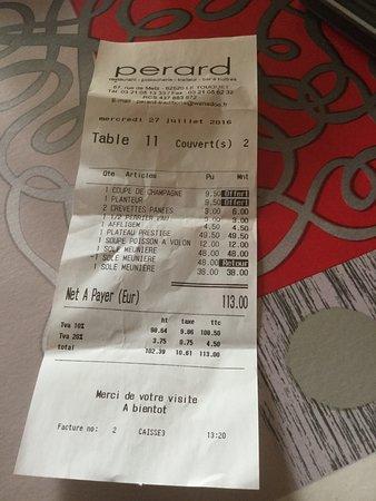 Perard : facture de ce repas avec la remise suite aux désagrément