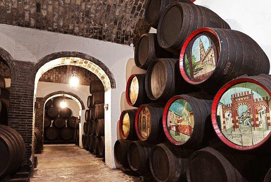 Montilla, สเปน: barricas de la bodega subterránea representando lugares característicos de cordoba