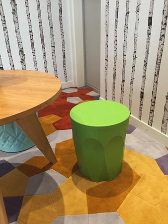 uncomfortable for waiting stools, the hotel is themed on colours