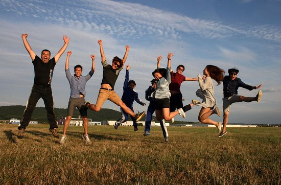 Happy skydivers