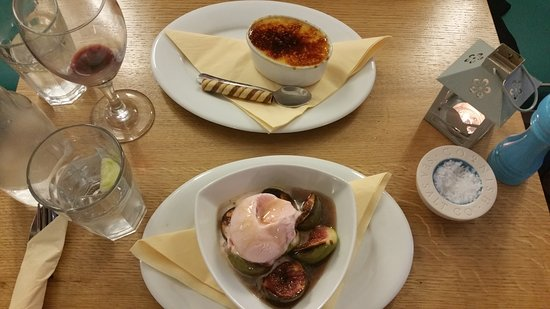 Porthleven, UK: Brulee and Fig desserts