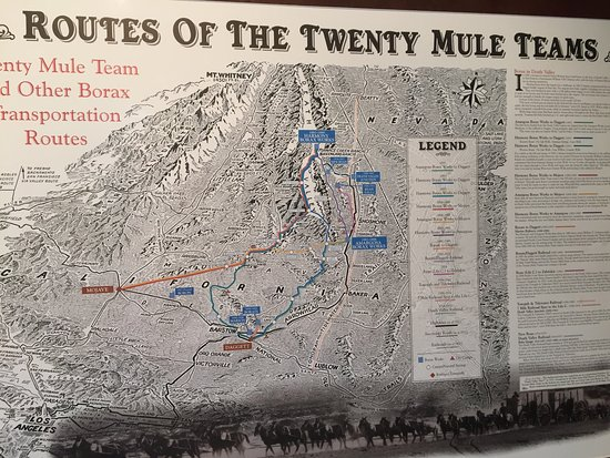 Boron, Californië: Map of the desert routes used by the mule teams.