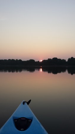 The Willows Resort: Sunrise on the salt pond from the kayak.