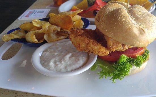 Jensen Beach, FL: Fried grouper sammy with homemade tater chips.