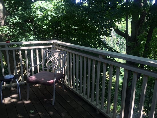 Secret of Saugatuck Suites: Backyard (and entrance) view from a second floor apartment (A4)