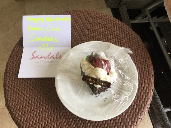 The wifes birthday cake from the concierge Picture of Sandals