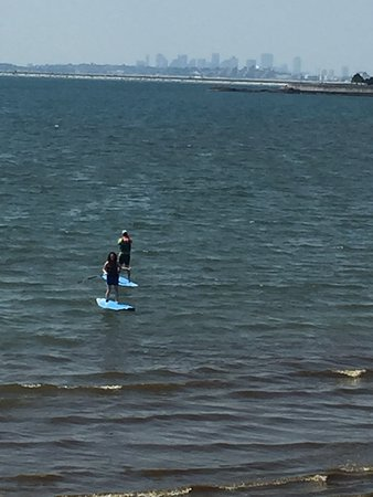 Swampscott, Массачусетс: standup paddle boarding across the street from Ocean House Surf Shop