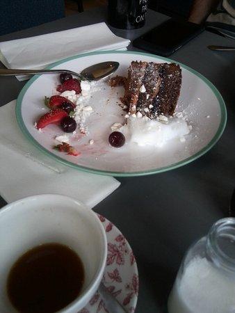Burscough, UK: Chocolate and Cherry Cake with Gin & Tonic sorbet.