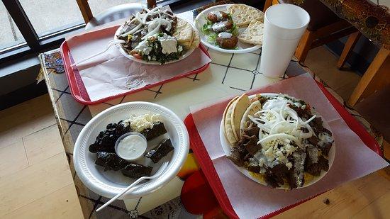 Opah Greek Grill: 2 Gyro Plates, stuffed grape leaves app, falafel app