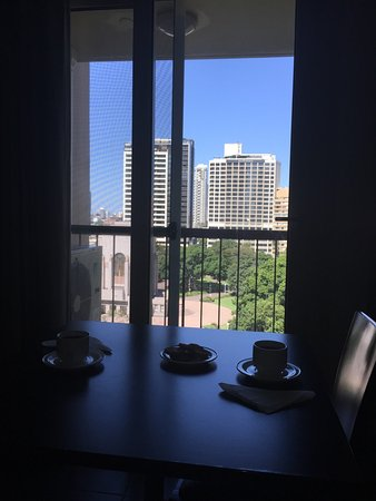 Hyde Park Inn: table, chairs and balcony view