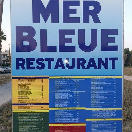 Mer Bleue Beach Restaurant: Mer Bleue menu on the road_large.jpg