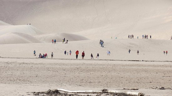 Mosca, CO: People hiking up the dunes