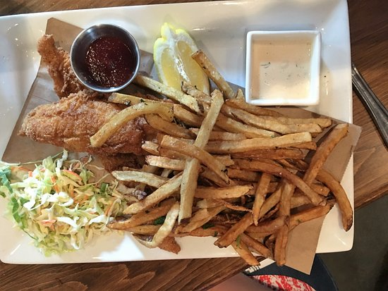 Alpharetta, GA: Corn Fried Fish and Chips with Malt Vinegar Tartar Sauce