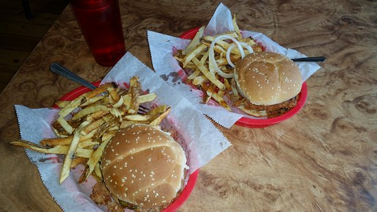 Southern Vittles: A whole Hog Sandwich(left) and Pulled Pork (right), both with hot fries.