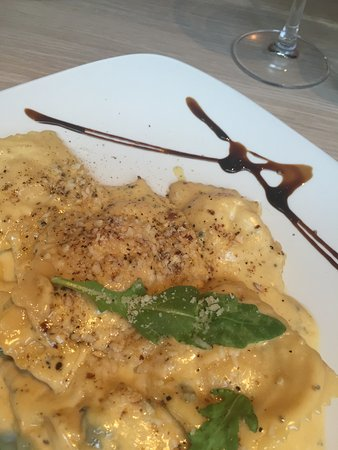 Nonna's Kitchen: handmade ravioli with pumpkin filling and hazelnut cream sauce