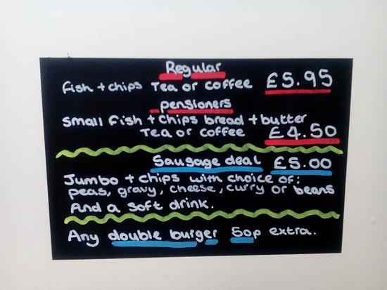 Kendal, UK: Black board offers