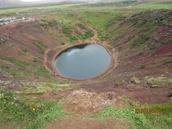 Selfoss, Island: Kerid crater from the highest point of the rim