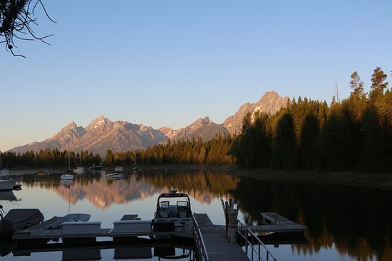 Colter Bay RV: View of Grand Teton early morning from the harbor. (Temperature in July 37°F at 6am)