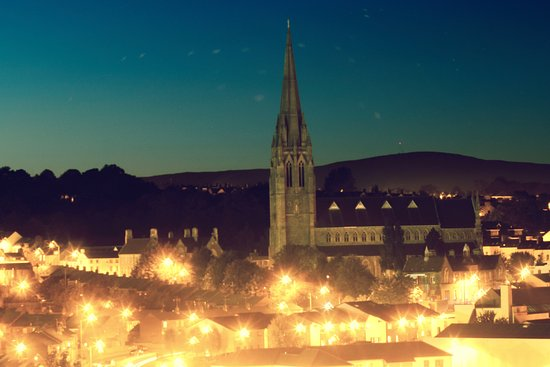 Derry, UK: Across the Bogside from the City Walls at night