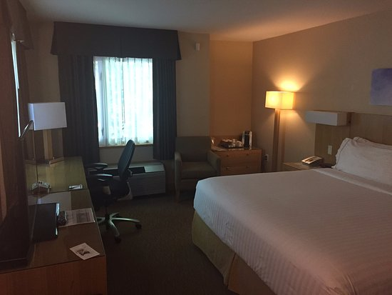 Holiday Inn Express Hotel & Suites Langley: Bed and work desk area
