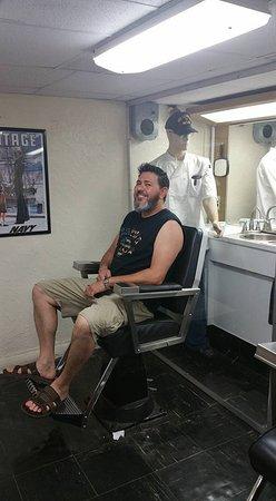 USS LEXINGTON: Husband getting a haircut