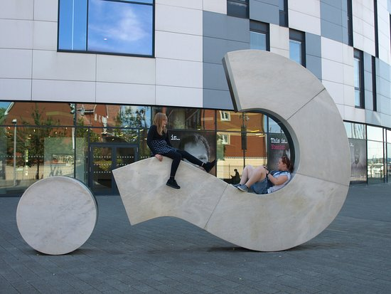 Ipswich, UK: My two kids seating in the question mark