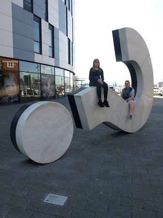 Ipswich, UK: My two kids seating on the question mark