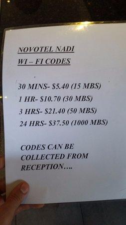 Novotel Nadi: prix wifi