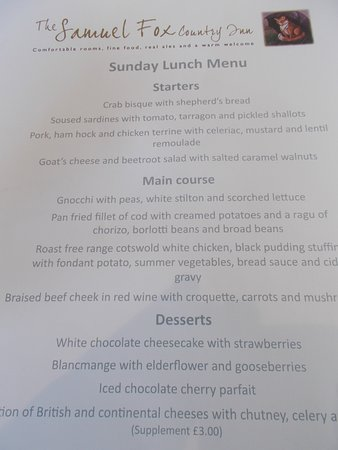 Bradwell, UK: Sunday Menu July 16