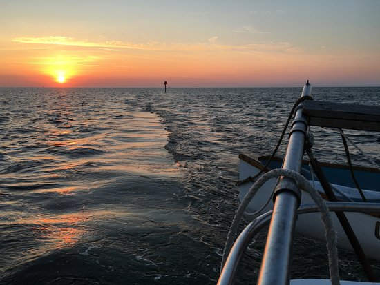 Schooner Windfall II: Gorgeous sunset out on the water.