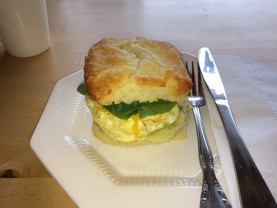Kemptville, Kanada: Veggie-Eggie sandwich on homemade tea biscuit