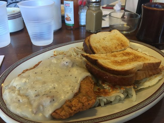 Lee Street Station Cafe: Country-fried steak with white gravy, over-easy eggs and hash browns. DELICIOUS!