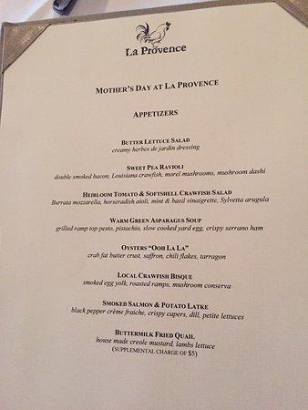 La Provence Restaurant Etizers Menu
